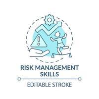 ícone de conceito azul de habilidades de gerenciamento de risco vetor
