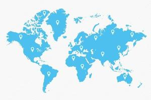mapa-múndi azul com ícones de mapa vetor