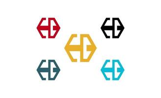 carta eb hexágono conceito logo design vector