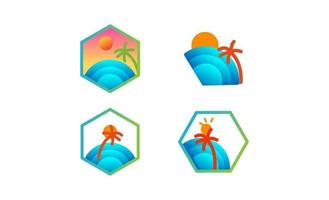 ilustração em vetor praia sunset logo set design