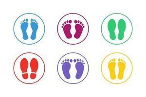 conjunto de ícones de pegadas coloridas vetor