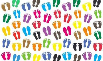 fundo de silhueta de pegadas humanas coloridas vetor