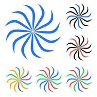 conjunto de ícones de ilustração de redemoinho colorido vetor