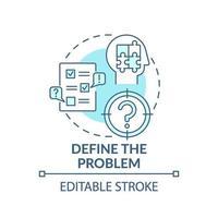 definir o ícone do conceito azul do problema vetor