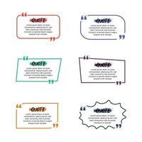 coleção de quadros de citações coloridas vetor