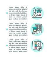 escolas médicas e ícones de linha de conceito de exames de licenciamento com texto vetor