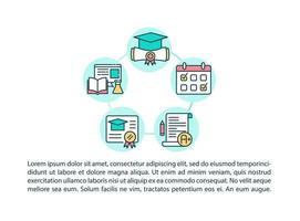 ícones de linha de conceito de educação médica de certificação com texto vetor