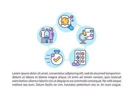 identificação precoce de ícones de linha de conceito de doenças com texto vetor