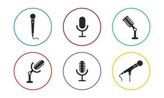 conjunto de ícones vetoriais de microfone vetor