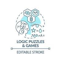 ícone de conceito azul de quebra-cabeças de lógica e jogos vetor