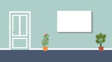 parede da sala com tela e vasos de plantas vetor