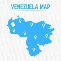 mapa simples da venezuela com ícones de mapa vetor