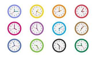 variedade de ícones de hora do relógio vetor