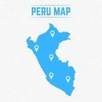 peru mapa simples com ícones de mapa vetor