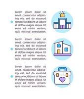 trabalhando em hospitais ou pacientes em casa ícones de linha de conceito com texto vetor