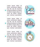 Ícones de linha de conceito de situações de emergência médica com texto vetor