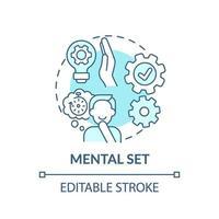 ícone de conceito azul conjunto mental vetor