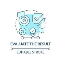 avalie o ícone do conceito azul de resultado vetor