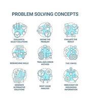 conjunto de ícones de conceito azul para resolução de problemas vetor