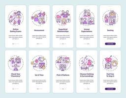 tela de página de aplicativo móvel de integração de plataforma de namoro online com conceitos. vetor