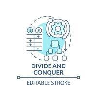 divida e conquiste o ícone do conceito azul vetor