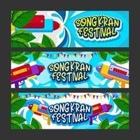 conjunto de modelos de banner para festival de água songkran vetor