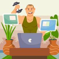 treino virtual de academia vetor