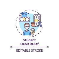 ícone do conceito de alívio da dívida do estudante