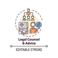 ícone do conceito de assessoria jurídica e aconselhamento