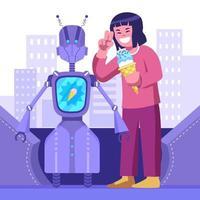 cobiçoso robô de entrega de comida tecnológico vetor