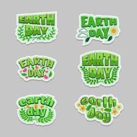 conjunto de design de adesivos de tipografia do dia da terra vetor