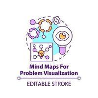 mapas mentais para o ícone do conceito de visualização de problemas vetor