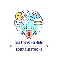 Ícone de conceito de seis chapéus pensantes vetor