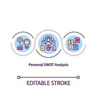 ícone do conceito de análise de swot pessoal vetor