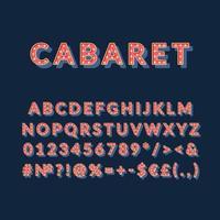 conjunto de alfabeto vetor 3d vintage de cabaré