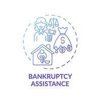 ícone do conceito de assistência à falência