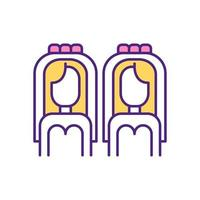 ícone de cor rgb de casamento lgbt. vetor
