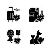 seguro e proteção ícones de glifo preto definidos no espaço em branco