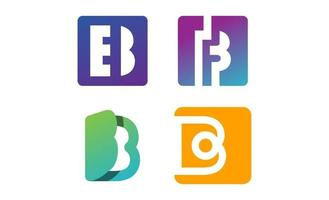 monograma b inicial definir vetor de modelo de design de logotipo