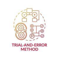 ícone de conceito de gradiente vermelho de método de tentativa e erro vetor