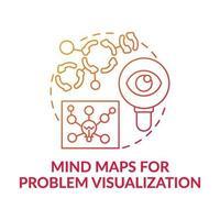 mapas mentais para visualização de problemas ícone de conceito de gradiente vermelho vetor