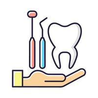 ícone de cor rgb de seguro odontológico vetor