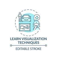 Aprenda a técnica de visualização ícone do conceito turquesa vetor