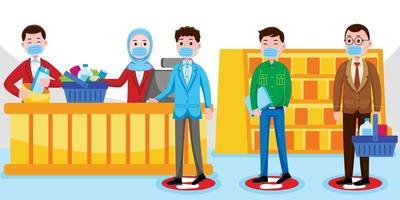distanciamento social de caixa em supermercado vetor