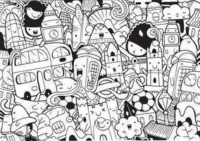 londres doodle com ilustração vetorial. vetor