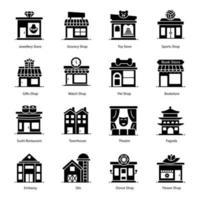 ícones de loja, construção e arquitetura vetor