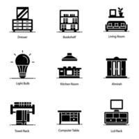ícones de limpeza de interiores e domésticos vetor