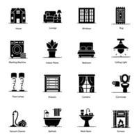 adorno doméstico e ícones de interior vetor