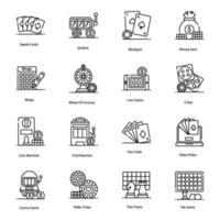 ícones modernos de cassino e jogos vetor