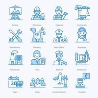 ícones de empregos de colarinho azul vetor